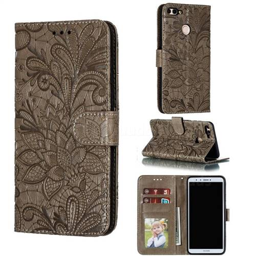 Intricate Embossing Lace Jasmine Flower Leather Wallet Case for Huawei Y9 (2018) - Gray