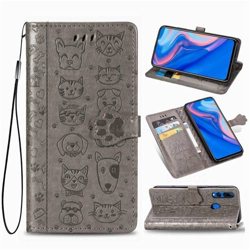 Embossing Dog Paw Kitten and Puppy Leather Wallet Case for Huawei Y9 Prime (2019) - Gray
