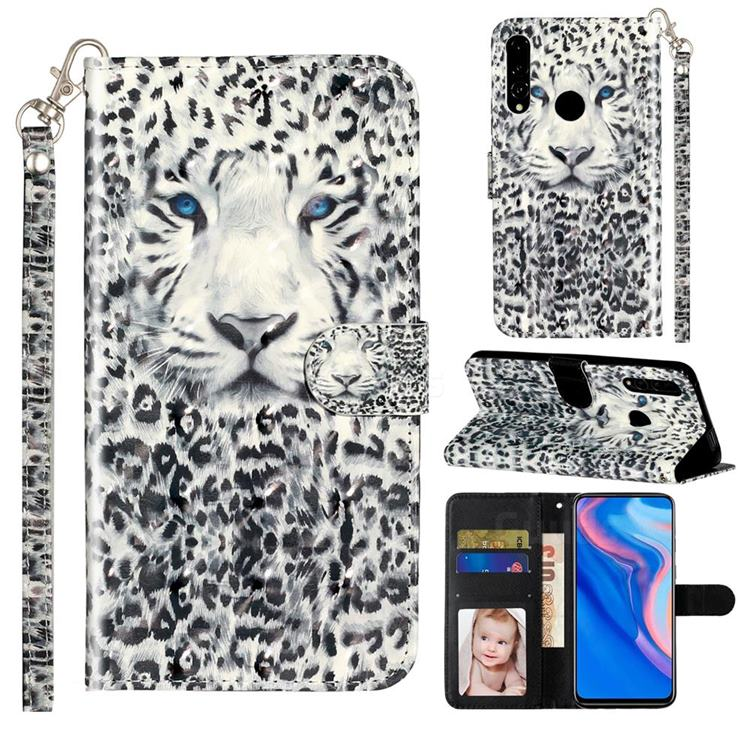 White Leopard 3D Leather Phone Holster Wallet Case for Huawei Y9 Prime (2019)