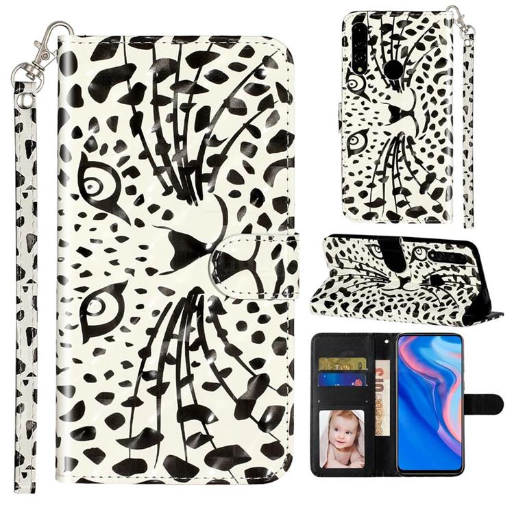Leopard Panther 3D Leather Phone Holster Wallet Case for Huawei Y9 Prime (2019)