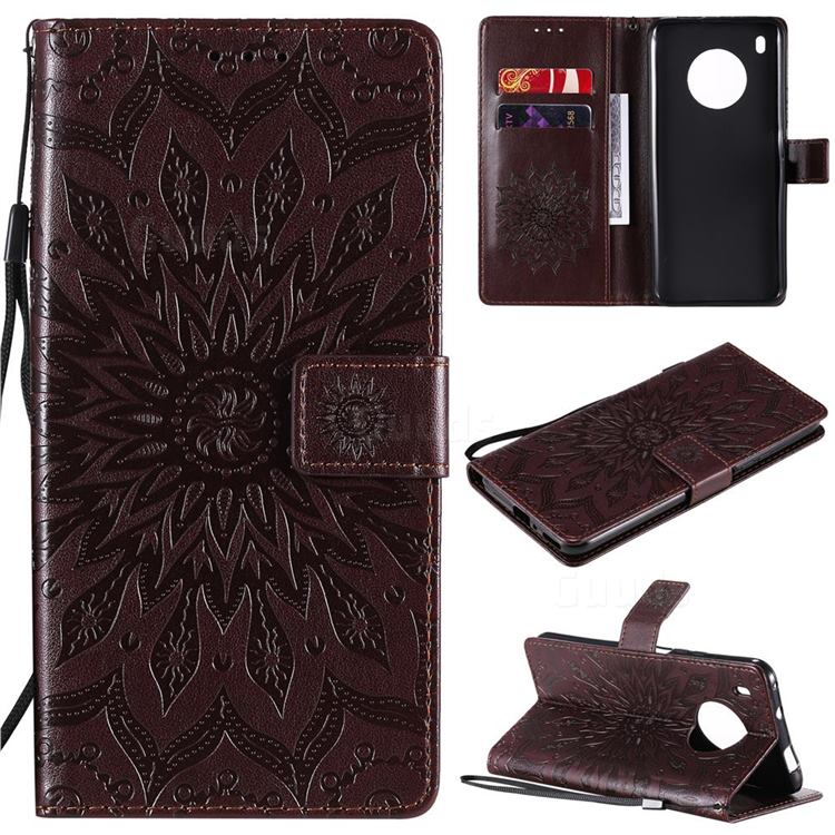 Embossing Sunflower Leather Wallet Case for Huawei Y9a - Brown