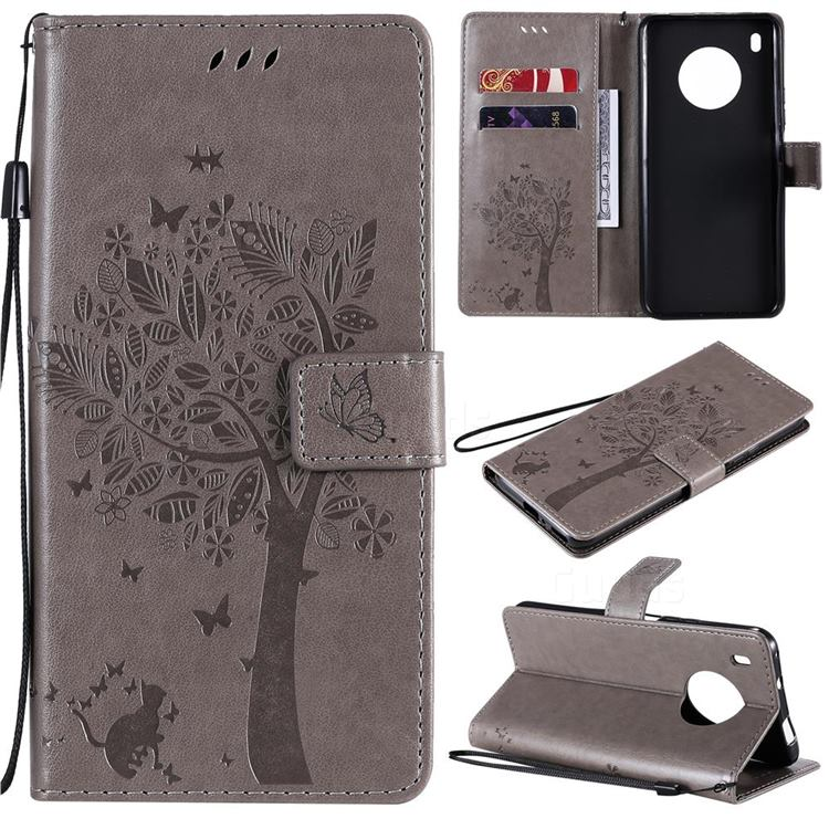 Embossing Butterfly Tree Leather Wallet Case for Huawei Y9a - Grey