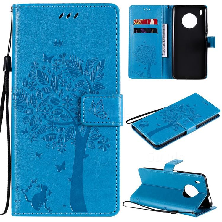 Embossing Butterfly Tree Leather Wallet Case for Huawei Y9a - Blue