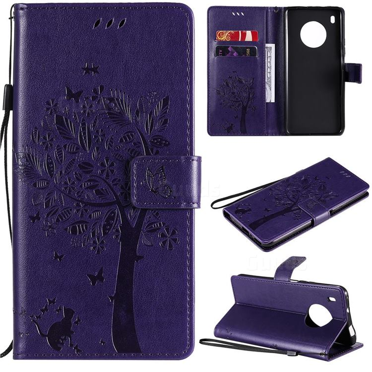Embossing Butterfly Tree Leather Wallet Case for Huawei Y9a - Purple