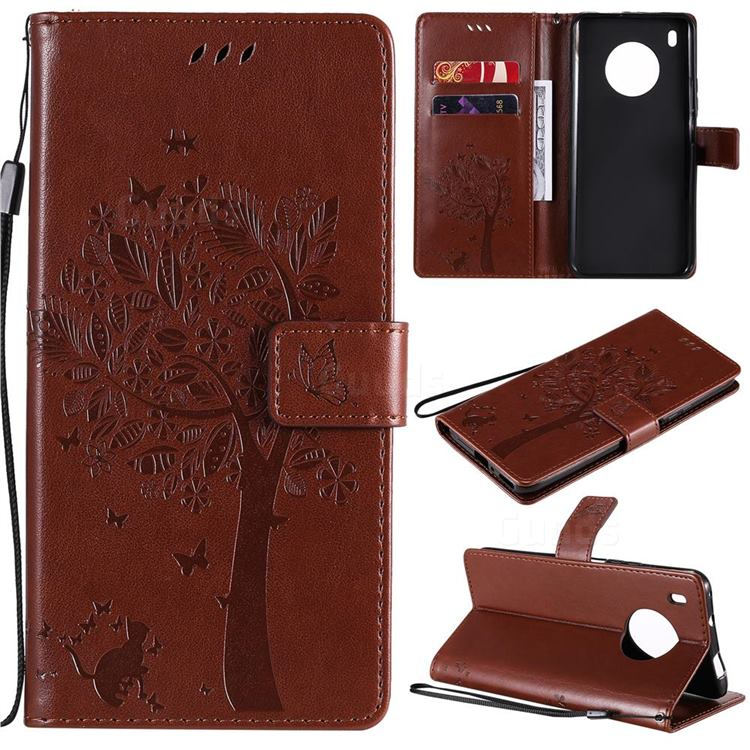 Embossing Butterfly Tree Leather Wallet Case for Huawei Y9a - Coffee