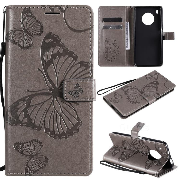Embossing 3D Butterfly Leather Wallet Case for Huawei Y9a - Gray