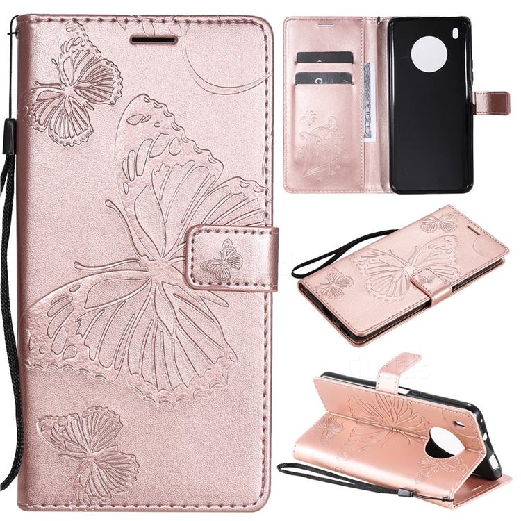 Embossing 3D Butterfly Leather Wallet Case for Huawei Y9a - Rose Gold