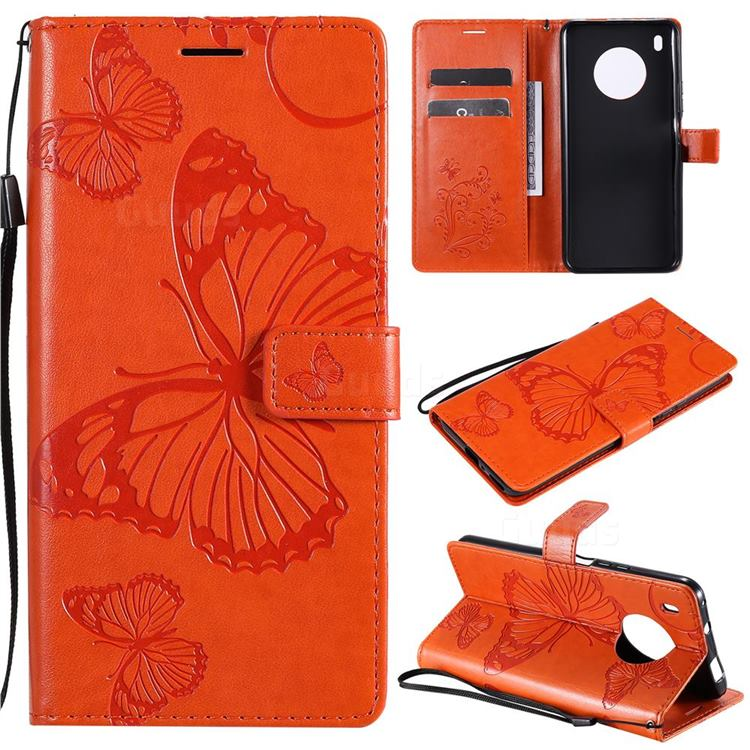 Embossing 3D Butterfly Leather Wallet Case for Huawei Y9a - Orange