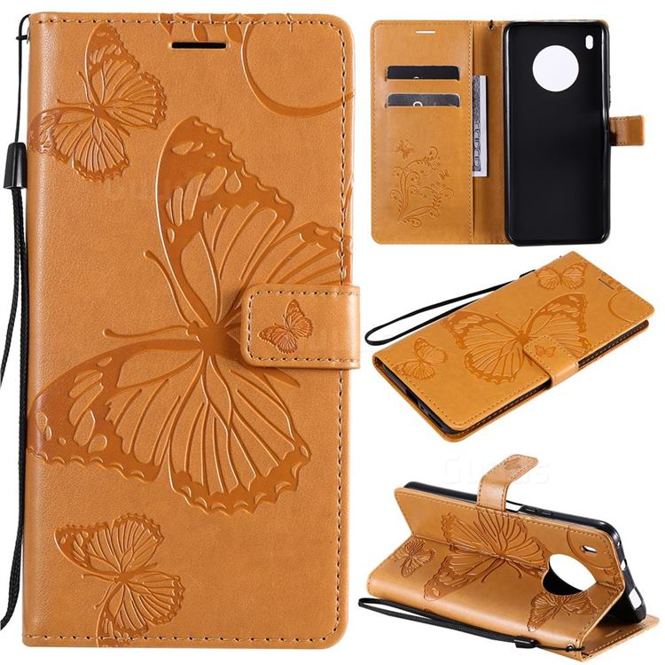Embossing 3D Butterfly Leather Wallet Case for Huawei Y9a - Yellow