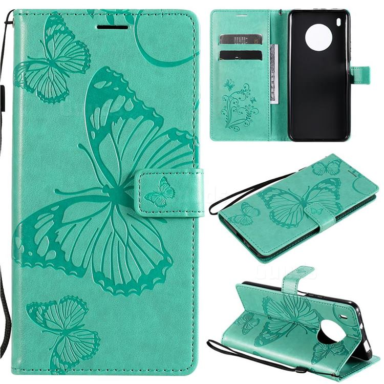 Embossing 3D Butterfly Leather Wallet Case for Huawei Y9a - Green