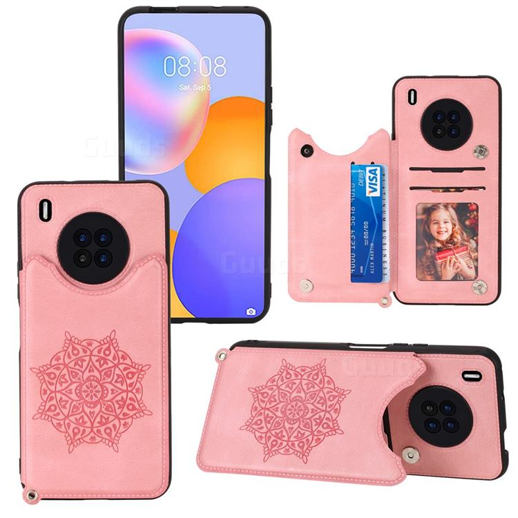 Luxury Mandala Multi-function Magnetic Card Slots Stand Leather Back Cover for Huawei Y9a - Rose Gold