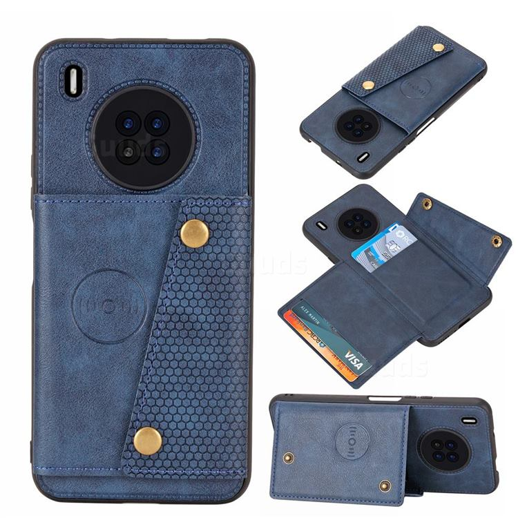 Retro Multifunction Card Slots Stand Leather Coated Phone Back Cover for Huawei Y9a - Blue