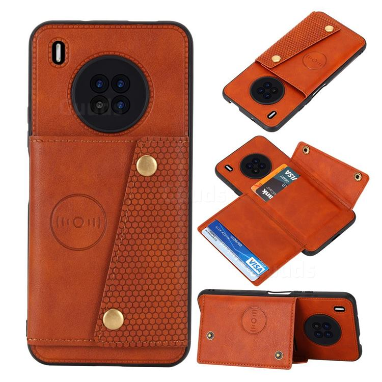 Retro Multifunction Card Slots Stand Leather Coated Phone Back Cover for Huawei Y9a - Brown