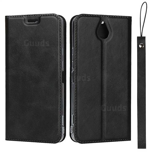 Calf Pattern Magnetic Automatic Suction Leather Wallet Case for Kyocera 705KC - Black