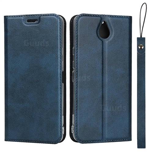 Calf Pattern Magnetic Automatic Suction Leather Wallet Case for Kyocera 705KC - Blue