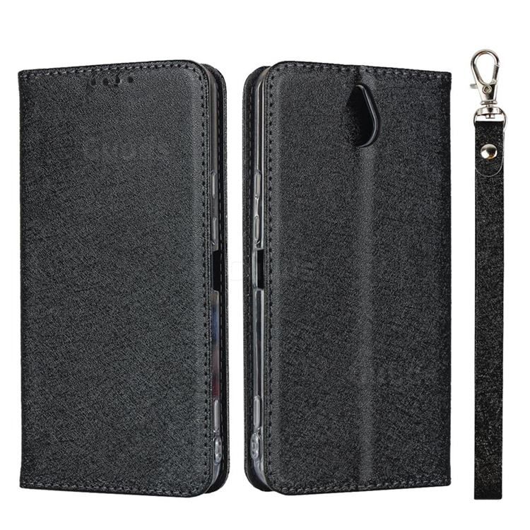Ultra Slim Magnetic Automatic Suction Silk Lanyard Leather Flip Cover for Kyocera 705KC - Black