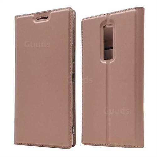 Ultra Slim Card Magnetic Automatic Suction Leather Wallet Case for Kyocera Urbano V04 - Rose Gold
