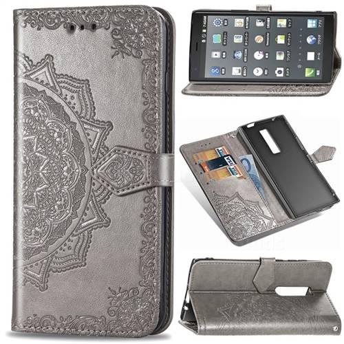 Embossing Imprint Mandala Flower Leather Wallet Case for Kyocera Urbano V04 - Gray