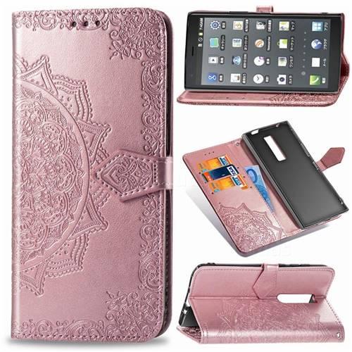 Embossing Imprint Mandala Flower Leather Wallet Case for Kyocera Urbano V04 - Rose Gold