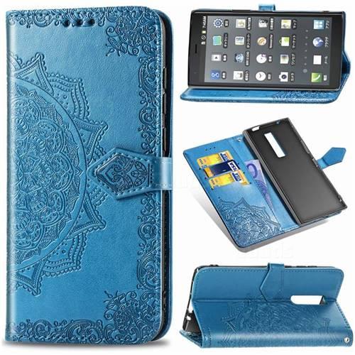 Embossing Imprint Mandala Flower Leather Wallet Case for Kyocera Urbano V04 - Blue
