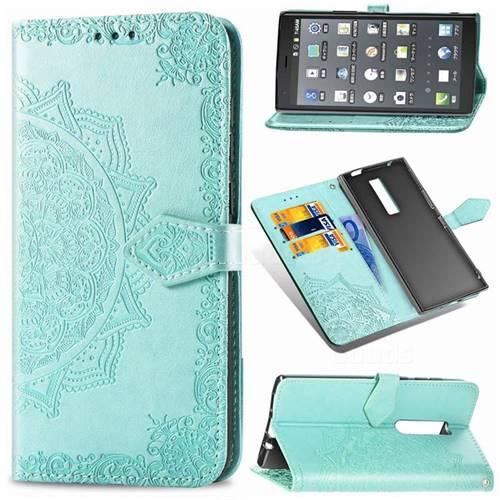 Embossing Imprint Mandala Flower Leather Wallet Case for Kyocera Urbano V04 - Green