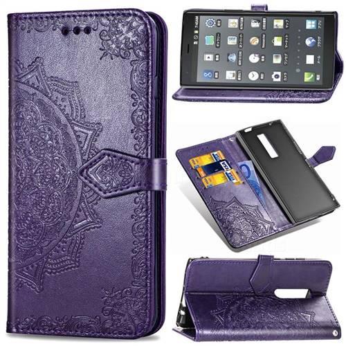 Embossing Imprint Mandala Flower Leather Wallet Case for Kyocera Urbano V04 - Purple