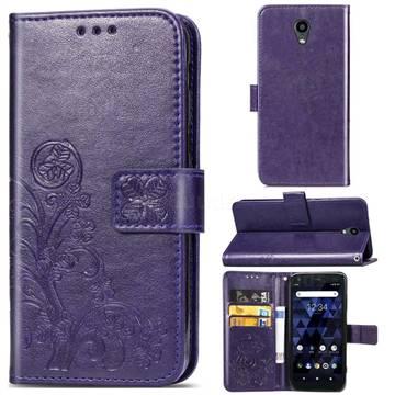 Embossing Imprint Four-Leaf Clover Leather Wallet Case for Kyocera Digno BX - Purple
