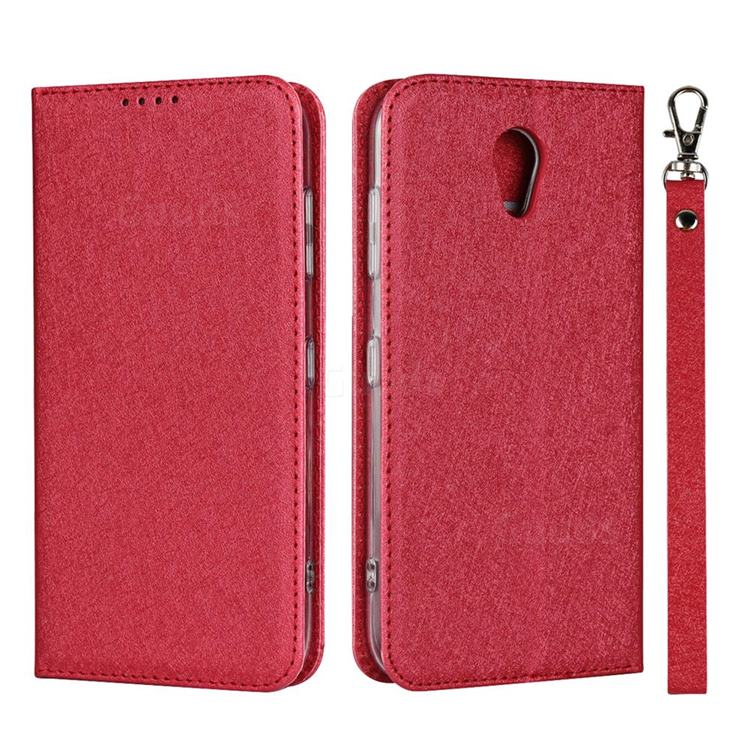 Ultra Slim Magnetic Automatic Suction Silk Lanyard Leather Flip Cover for Kyocera Digno BX 901KC - Red