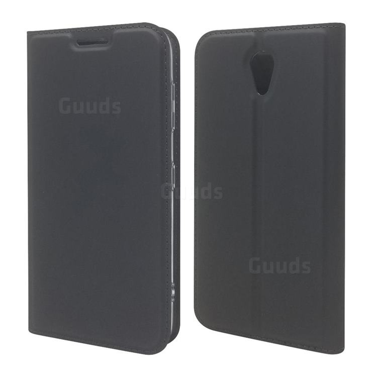 Ultra Slim Card Magnetic Automatic Suction Leather Wallet Case for Kyocera Digno BX 901KC - Star Grey