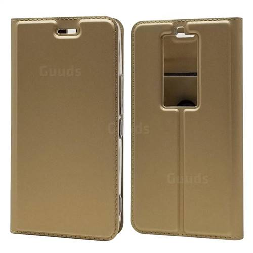Ultra Slim Card Magnetic Automatic Suction Leather Wallet Case for Kyocera Basio3 KYV43 - Champagne