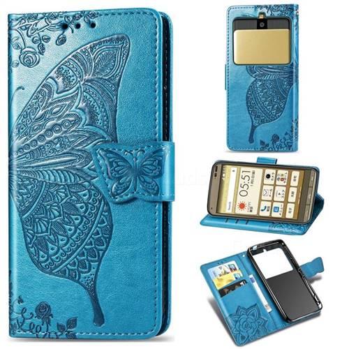 Embossing Mandala Flower Butterfly Leather Wallet Case for Kyocera Basio3 KYV43 - Blue