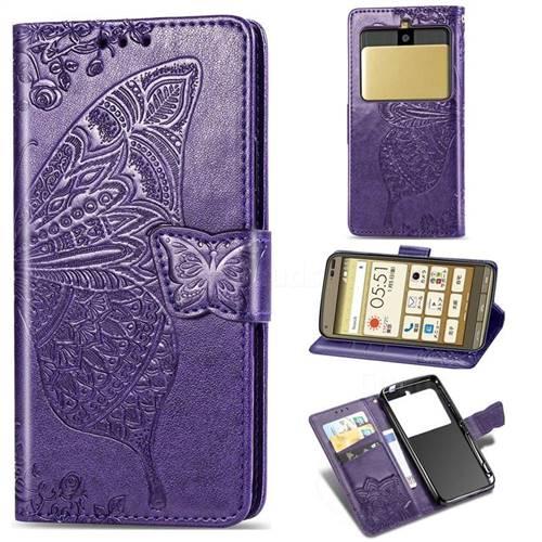 Embossing Mandala Flower Butterfly Leather Wallet Case for Kyocera Basio3 KYV43 - Dark Purple