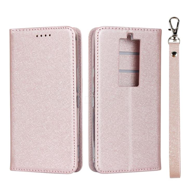 Ultra Slim Magnetic Automatic Suction Silk Lanyard Leather Flip Cover for Kyocera Basio3 KYV43 - Rose Gold