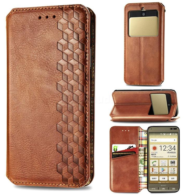 Ultra Slim Fashion Business Card Magnetic Automatic Suction Leather Flip Cover for Kyocera Basio3 KYV43 - Brown