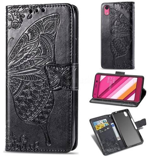 Embossing Mandala Flower Butterfly Leather Wallet Case for Kyocera Qua phone QZ KYV44 - Black