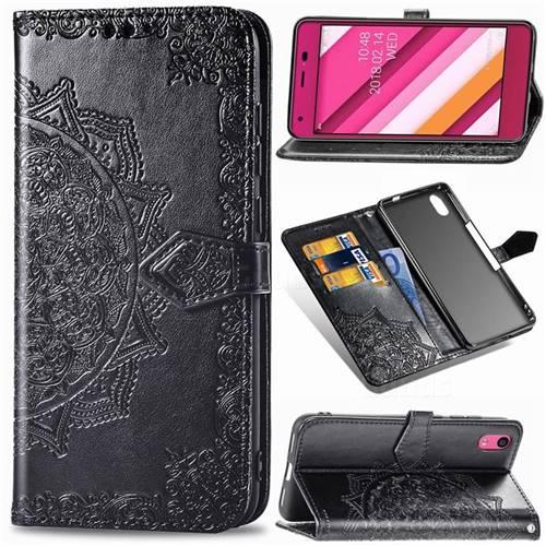 Embossing Imprint Mandala Flower Leather Wallet Case for Kyocera Qua phone QZ KYV44 - Black