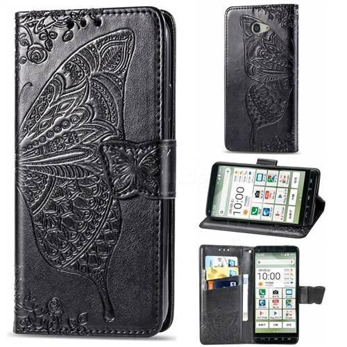 Embossing Mandala Flower Butterfly Leather Wallet Case for Kyocera BASIO4 KYV47 - Black