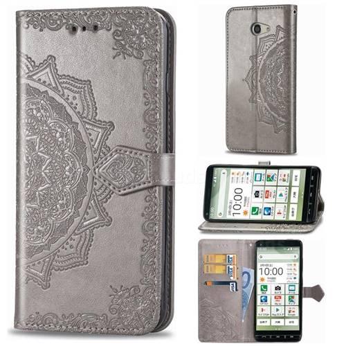 Embossing Imprint Mandala Flower Leather Wallet Case for Kyocera BASIO4 KYV47 - Gray