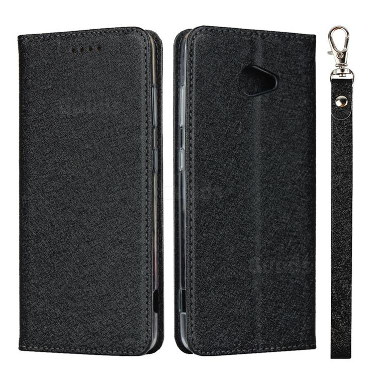 Ultra Slim Magnetic Automatic Suction Silk Lanyard Leather Flip Cover for Kyocera BASIO4 KYV47 - Black