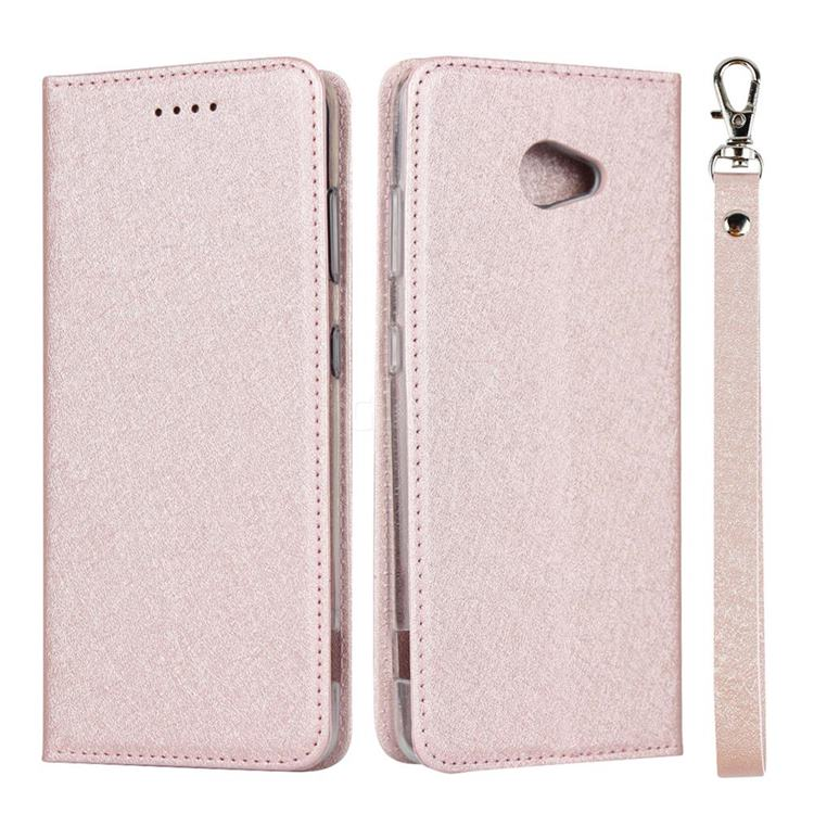 Ultra Slim Magnetic Automatic Suction Silk Lanyard Leather Flip Cover for Kyocera BASIO4 KYV47 - Rose Gold