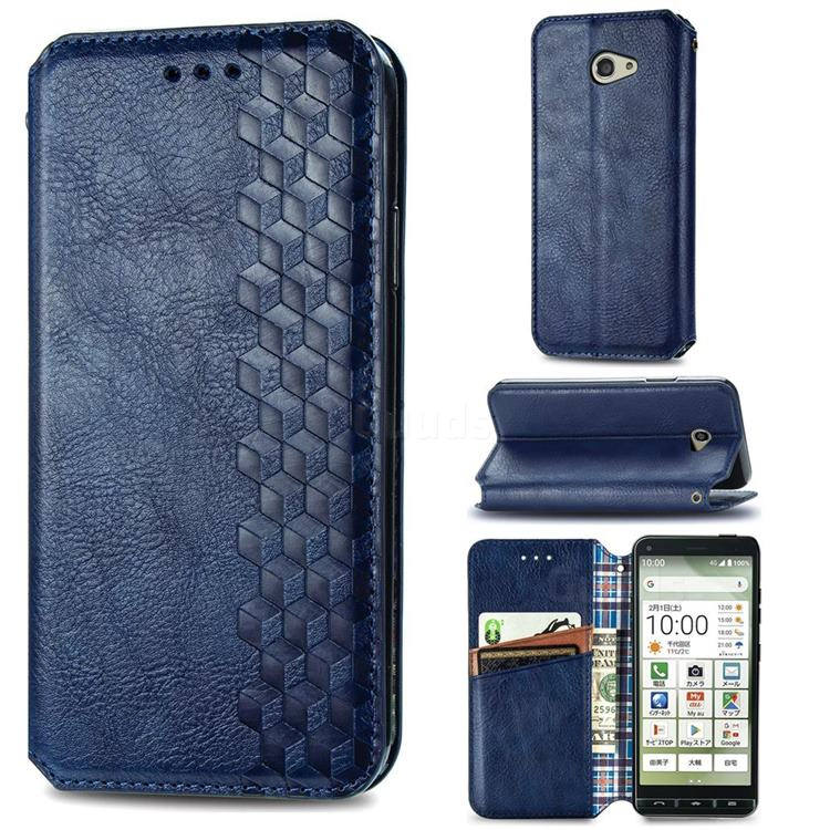 Ultra Slim Fashion Business Card Magnetic Automatic Suction Leather Flip Cover for Kyocera BASIO4 KYV47 - Dark Blue