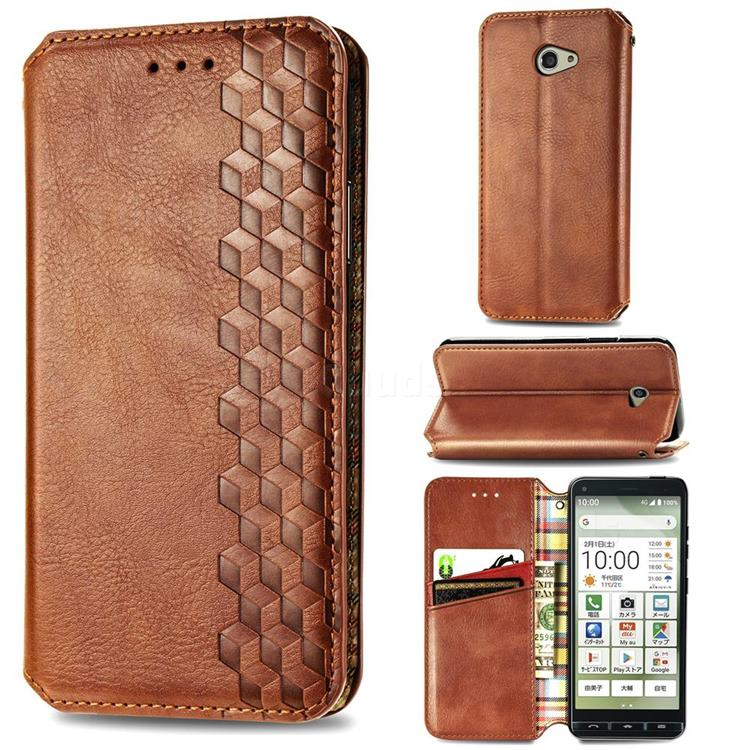 Ultra Slim Fashion Business Card Magnetic Automatic Suction Leather Flip Cover for Kyocera BASIO4 KYV47 - Brown
