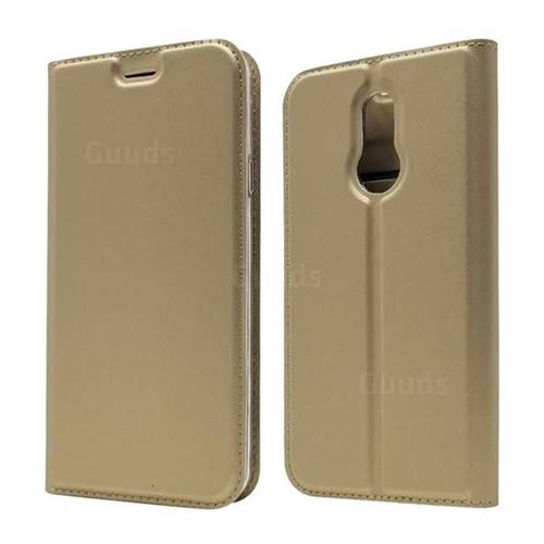 Ultra Slim Card Magnetic Automatic Suction Leather Wallet Case for LG L-03K Style LTE JP - Champagne