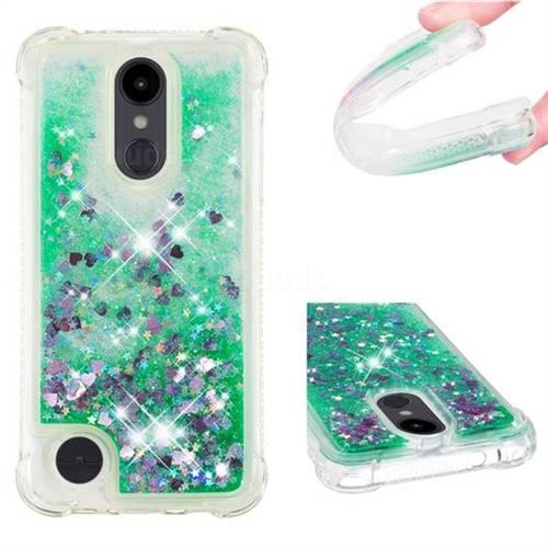 Dynamic Liquid Glitter Sand Quicksand TPU Case for LG Aristo 2 - Green Love Heart