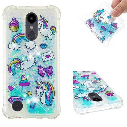 Fashion Unicorn Dynamic Liquid Glitter Sand Quicksand Star TPU Case for LG Aristo 2