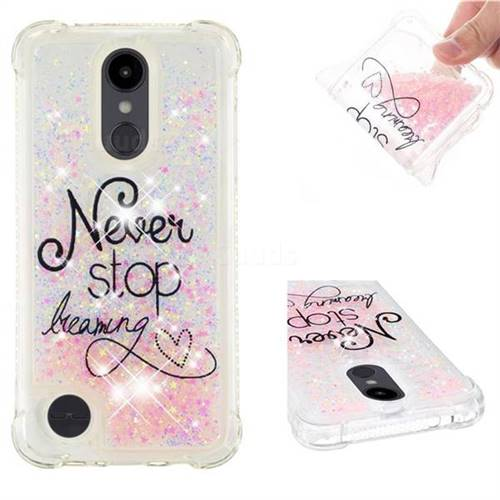 Never Stop Dreaming Dynamic Liquid Glitter Sand Quicksand Star TPU Case for LG Aristo 2