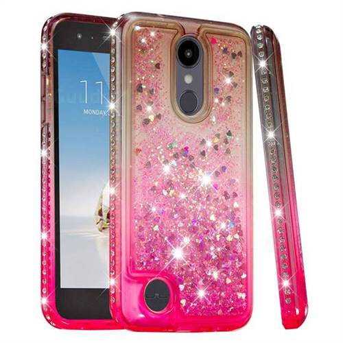 Diamond Frame Liquid Glitter Quicksand Sequins Phone Case for LG Aristo 2 - Gray Pink