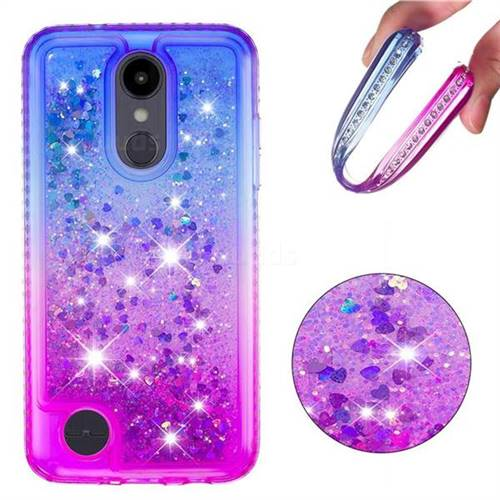 8acca01209d4 Diamond Frame Liquid Glitter Quicksand Sequins Phone Case for LG Aristo 2 -  Blue Purple