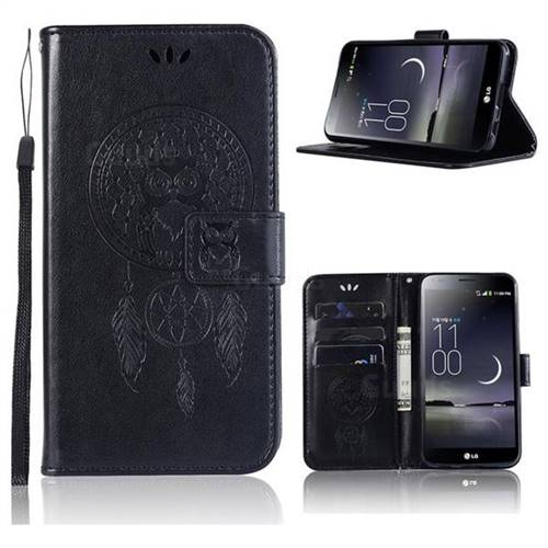 Intricate Embossing Owl Campanula Leather Wallet Case for LG Aristo 2 - Black