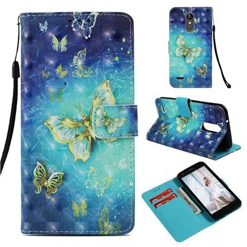 Gold Butterfly 3D Painted Leather Wallet Case for LG Aristo 2